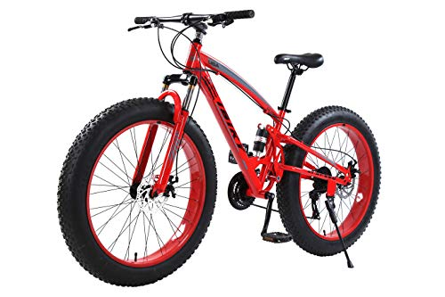 IBIKY 26 inch Mountain Bike,Hybrid Fat Tire Snow Bicycle with 21 Speed and Suspension/Dual Disc Brake (Red)