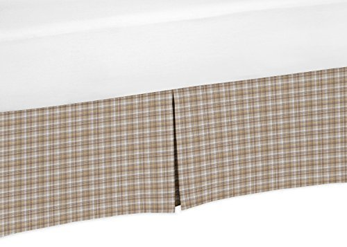 Sweet Jojo Designs Brown and Ivory Plaid Crib Bed Skirt Dust Ruffle for Boys All Star Collection Baby Bedding Sets