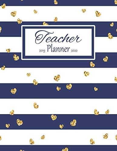 Teacher Planner: Vertical Academic Year Lesson Plan Calendar 8 Period Full Year Navy Stripes Gold Hearts (Lesson Plan Books For Teachers 2019-2020)