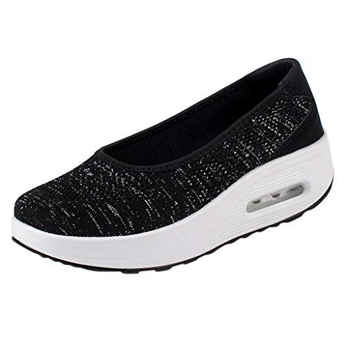 Haalife◕‿Womens Platform Walking Shoes Casual Slip on Comfortable Loafers Mesh Nurse Shoes Black