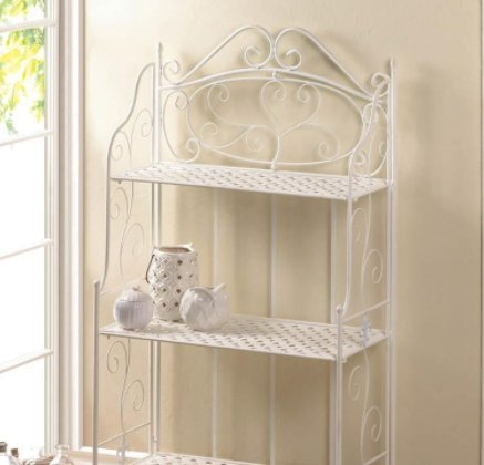SKB Family White Basket Weave Bakers Rack shelves style accents Iron
