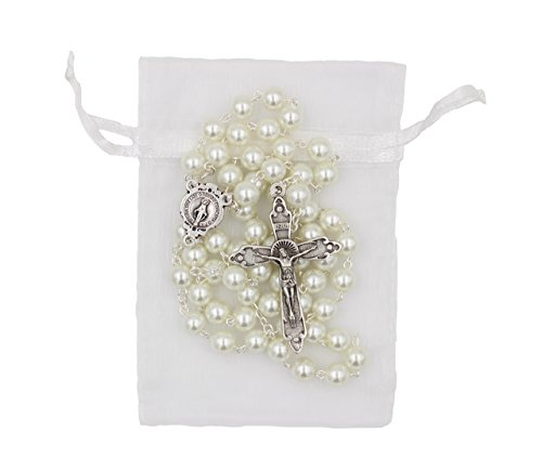 (7mm Glass Bead Imitation Pearl Rosary Miraculous Medal Center Halo Cross )