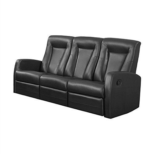 Monarch Specialties I 82BK-3 Reclining Sofa in Black Bonded Leather