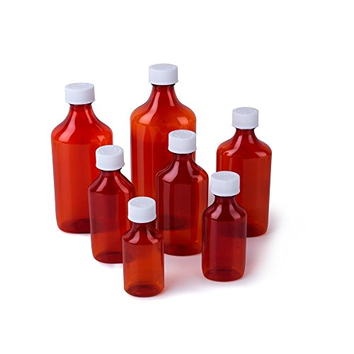 Ezy Dose Amber Liquid Oval Bottle – 4 ounce (oz) with Push-Turn Cap – Case of 99 (Item #30682)