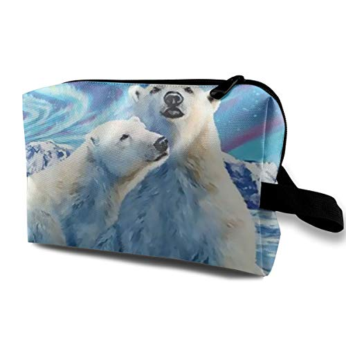 Polar Bear Painting Portable Multifunction Travel Pouches Woman Cosmetic Storage Bags Coin Purse Makeup Bag Pencil Holder -