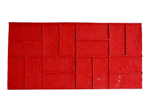 Worn Brick Basketweave Single Decorative Concrete Stamp Mat (Rigid / Red) Woven Basketweave