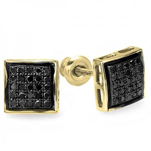 0.25 Carat (Ctw) 10K Yellow Gold Black Round Diamond Ladies Men's Unisex Hip Hop Micro Pave Stud Earrings by Trillion Designs