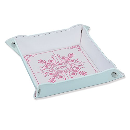 (Valet Tray PU Leather Foldable Catch all for Keys Phone with Embossing Tray(White,Pink))