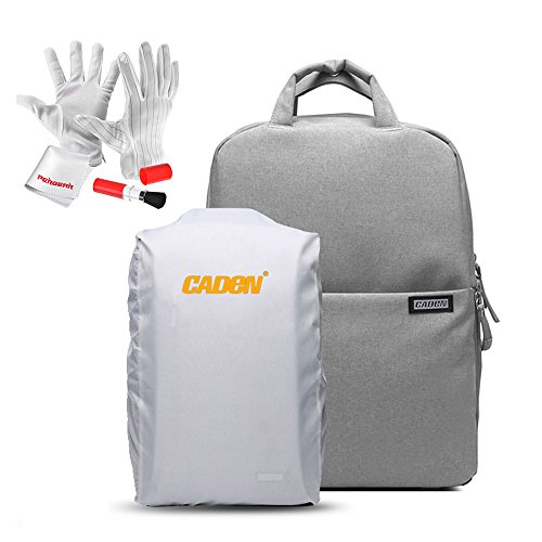 Caden Waterpoof DSLR Camera Travel Backpack with Rain Cover and Separated Compartment for Sony Canon Nikon Olympus SLR/DSLR Cameras Lens and Other Accessories - Light Grey by CADeN