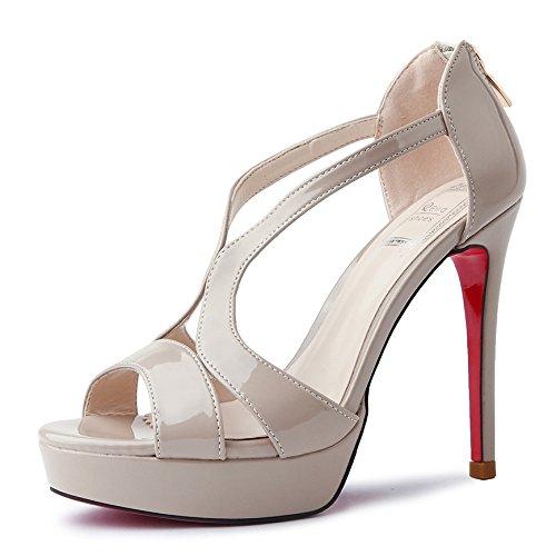 GAOLIM Sandalias De Verano Alta Heel Shoes Mujer Tacones Home Zapatos De Diario Beige oscuroE
