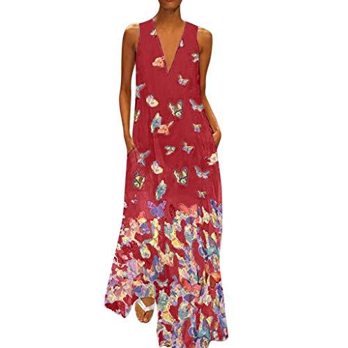 Dress for Women Wobuoke Fashion Printed Sleeveless V-Neck Maxi Dress Hem Baggy Kaftan Long Dress