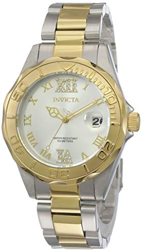 Invicta Women's 12852 Pro Diver Gold Dial Two Tone Watch with Crystal Accents