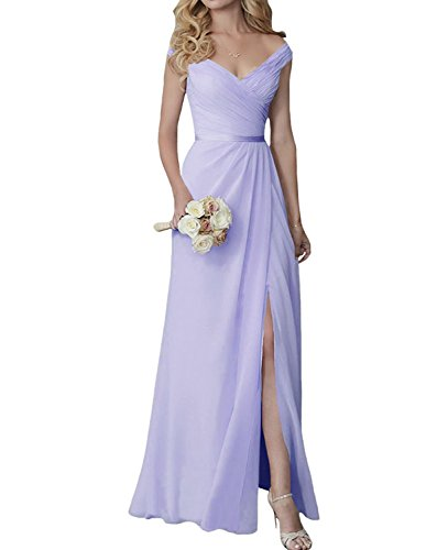 Yilis Elegant V-Neck Chiffon Slit Long Bridesmaid Dress Wedding Evening Dress Lilac US4