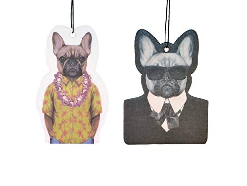 2 Pack - Air Freshener, French Bull Dog Hanging air freshener, Cool Air Freshener, Car Air Freshener - Mom's Laundry Scented