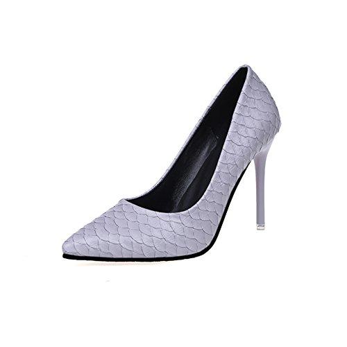 Damen High Heels, Patent Leather Pointed Shoes,Das Rote Muster ist Klein und Schuhe-C Fußlänge=22.3CM(8.8Inch)
