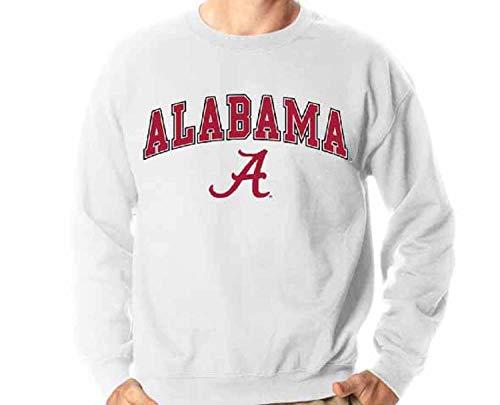 Alabama Crimson Tide Adult Midsize Logo Crewneck Sweatshirt - White, ()