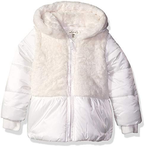 Jessica Simpson Baby Girls Satin Peplum Puffer Jacket, Ivory, 12M