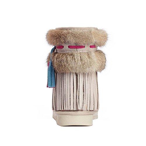 HooH Damen Leder Kaninchen Fell Tassel Schneestiefel Beige