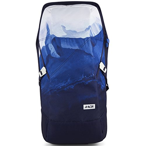 AEVOR Daypack Rucksack für die Uni und Freizeit inklusive Laptopfach und erweiterbar auf 28 Liter Rock Grain - schwarz Aerial Blue - Blau, Weiß