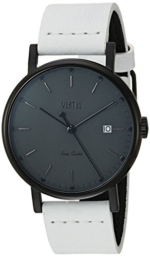 Vestal 'Sophisticate 36' Swiss Quartz Stainless Steel and Leather Dress Watch, Color:White (Model: SP36L05.WH)