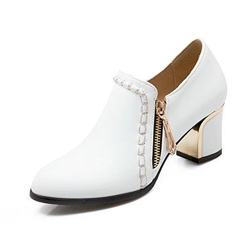 Amoonyfashion Donna Con Cerniera A Punta Chiusa Gattino-tacchi Pu Pompe-scarpe Solide Bianche