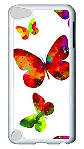 Brian114 Case, iPod Touch 5 Case, iPod Touch 5th Case Cover, Colorful%20Butterfly 4 Retro Protective Hard PC Back Case for iPod Touch 5 ( white )