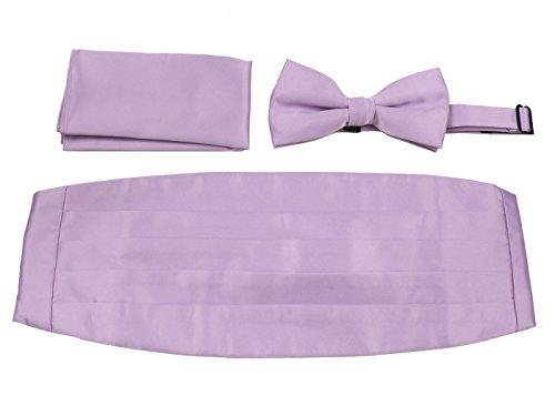 Cummerbund Lilac (CBUND-ADF-13 - Mens Formal Woven Satin Cummerbund Pre-Tied Bowtie Hanky set.)