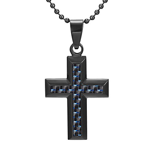 Blue Cross Resin - Willis Judd Cross Pendant Black Stainless Steel with Blue Carbon Fiber with 22