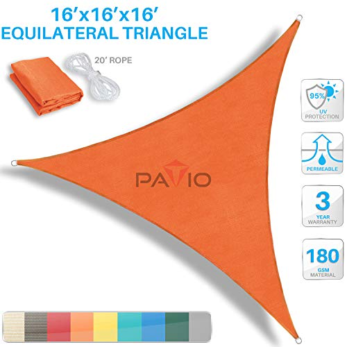 PATIO Paradise 16' x 16' x 16' Orange Sun Shade Sail Triangle Canopy, 180 GSM Permeable Canopy Pergolas Top Cover, Permeable UV Block Fabric Durable Outdoor, Customized Available