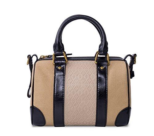 YAAGLE Damen Taschen Frühlingsfest Handtasche europäisch Canvas Segeltuch Schultertasche Boston Tasche Kissenpackung Baguttes Bowlingtasche-beige(small)