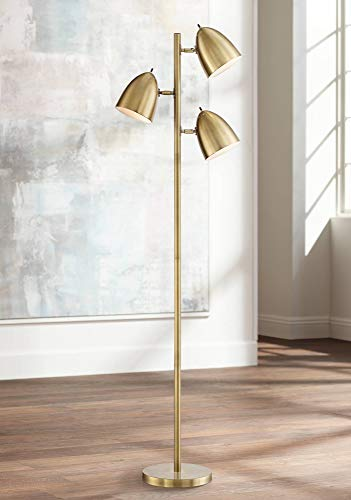 Aaron Mid Century Modern Floor Lamp Aged Brass 3-Light Tree Adjustable Dome Shades for Living Room Reading Bedroom Office - 360 -