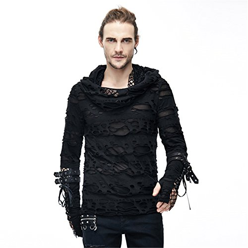 Gothic Hole Men HoodieT Shirt Long Sleeve 2019 Spring Autumn Punk Mens Hooded Tee Tops on sale