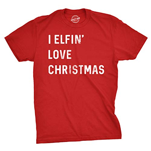 Mens I Elfin Love Christmas Tshirt Funny Holiday Tee for Guys (Red) - XL -
