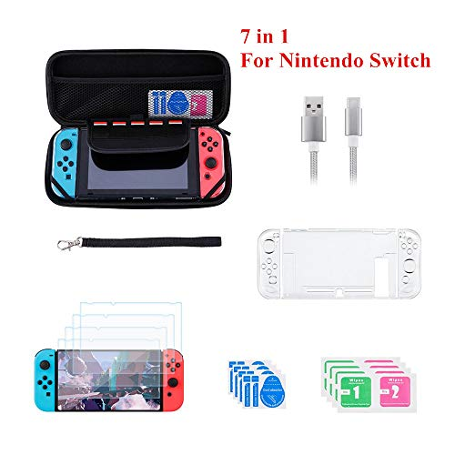 Accessories Starter Kit for Nintendo Switch with Portable Carrying Case Travel Storage Bag Crystal Clear Hard Shell Protective Cover 4 Tempered Glass Screen Protector USB Type-C Charging Cable Black (Cable Switch Cover)