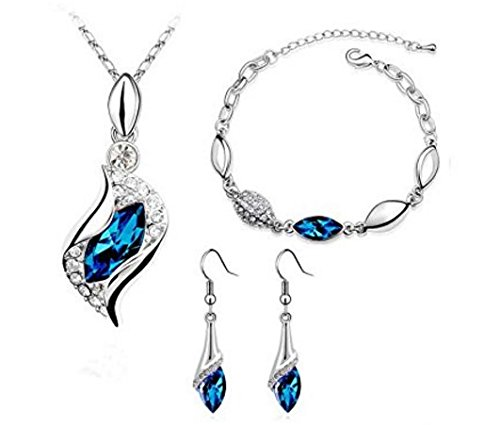 Platinum-plated Fashion Jewelry Set with Imported Crystal Element (CF-1083-S06) (Platinum Case Collector)