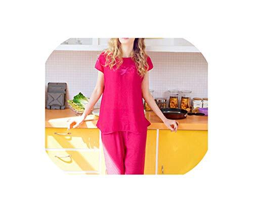 European Style Pajamas Women Cotton & Linen Pijama Casual Pyjamas Mujer Ladies Tracksuit 3XL,Rose red,XL