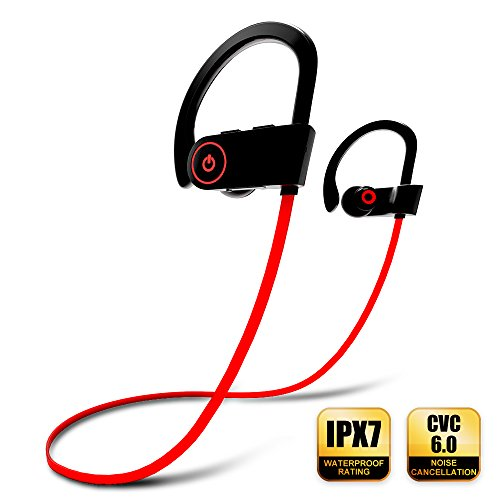 Bluetooth Headphones, Wireless Earbuds with Microphone Musical Sports Earphones IPX7 Waterproof Sweatproof HD Stereo for Running Gym Noise Cancelling Up To 8 Hours Working Time Headsets