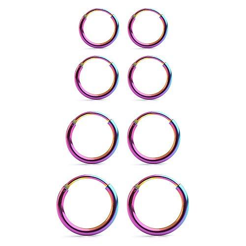 Ruifan 4 Pairs Stainless Steel Mens Womens Earrings Cartilage Lip Piercing Nose Septum Hoop 18G 8mm-14mm