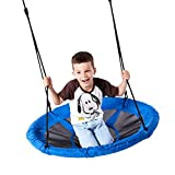 YGJT 40'' Saucer Tree Swing Flying 700lb Weight Capacity Adjustable Multi-Strand Ropes Safe Durable Easy Install 900D Oxford Swing Seat for Children Adults - Blue