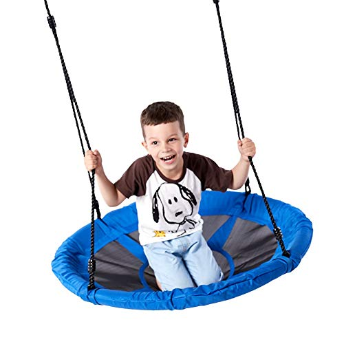 YGJT 40'' Saucer Tree Swing Flying 700lb Weight Capacity Adjustable Multi-Strand Ropes Safe Durable Easy Install 900D Oxford Swing Seat for Children Adults - Blue (And Swing Seat Rope)