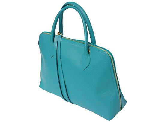 308 Sac Cuir Florence Pour Turquoise En Cartable Saffiano Market Business Leather Femme vvUwA