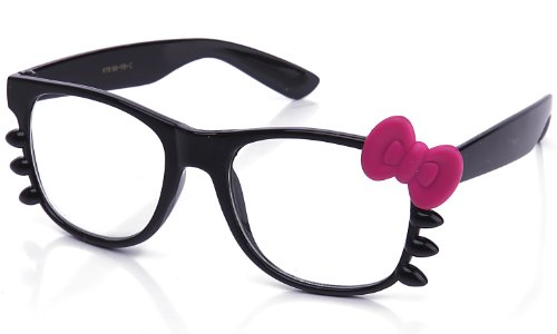 Kyra Women's High Fashion Rubber Touch Finish Hello Kitty Bow Clear Lens Glasses 20% OFF 4 Pairs or - Hello Pink Kitty Glasses