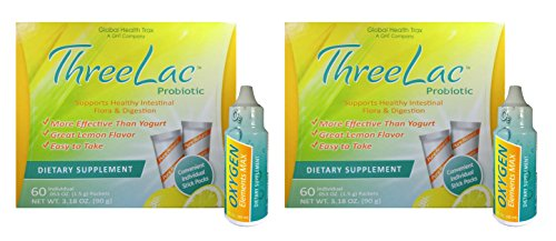 Three Lac Probiotic Dietary Supplement (2 Count) / Oxygen Elements Max Dietary Supplement (2 Count) by Global Health Trax