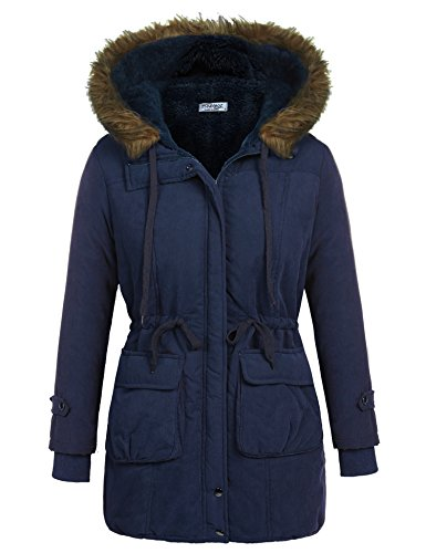 Beyove Women's Winter Faux Fur Lined Hood Drawcord Waist Long Parka Coat Navy Blue XXL…