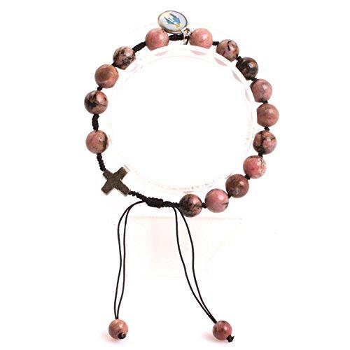 GEM-inside 8mm Red Black Rhodonite Handmade Catholic Christian Prayer Rosary Beads Cross Bracelets Adjustable Jewelry]()