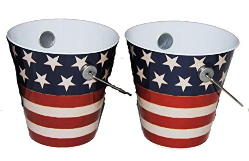 - Red, White, and Blue Patriotic Tin Pails 2 pk