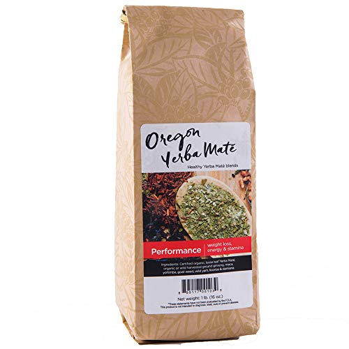 Oregon Yerba Mate Loose Leaf Tea, Performance Blend [Ginseng, Maca, Yohimbe, Goat Weed, Wild Yam, Licorice, Damiana], Organic Alkaline Caffeine. 16 Ounce Bag