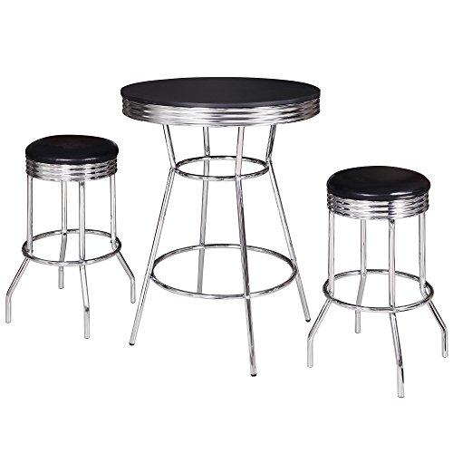 Hathaway Remington 3 Piece Pub Table Set, Chrome/Black