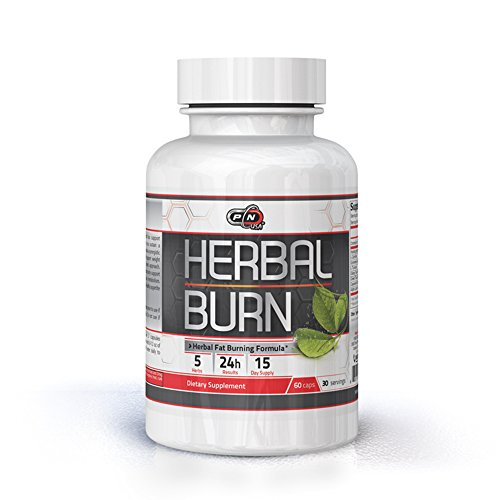 Herbal Appetite Suppressants - Pure Nutrition USA Herbal Burn 100% All Natural Fat Burner Best Weight Loss Management Stimulation Appetite Control Suppressant Sports Dietary Supplement Rapid Burning Formula 60 Caps