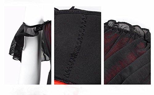 HLGO Frauen schwarze Dessous Satin Mesh Spitze transparenten Damen Nachtwäsche mit G-String schwarz, 4 Größe für die Wahl